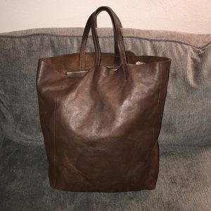 Celine dark brown leather Cabas tote bag
